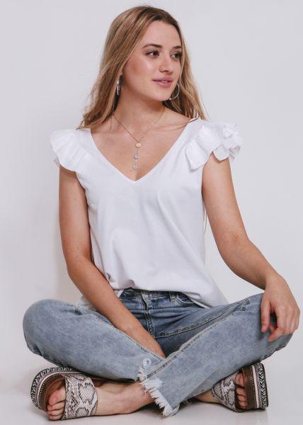 T-Shirt mit Volants, weiß