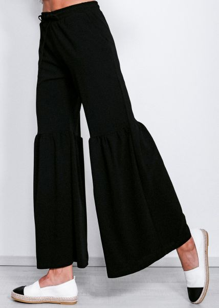 Knöchellange Hose mit Volant, schwarz