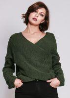 Pullover in Wickel-Optik, grün