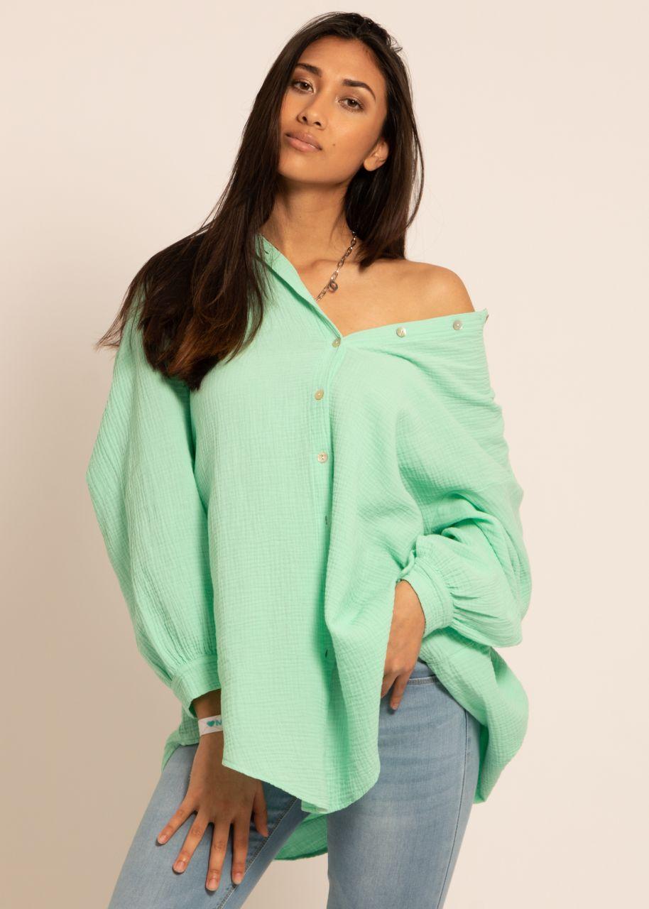Ultra oversize Blusenhemd, mintgrün