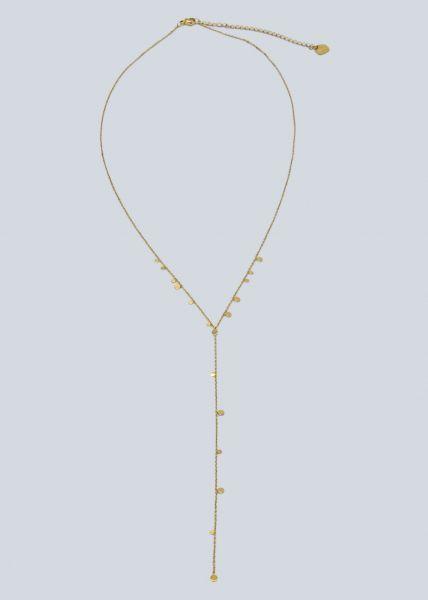 Halskette mit zarten Plättchen, gold