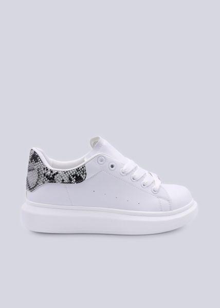 Plateau-Sneaker mit Snake-Ferse, weiß