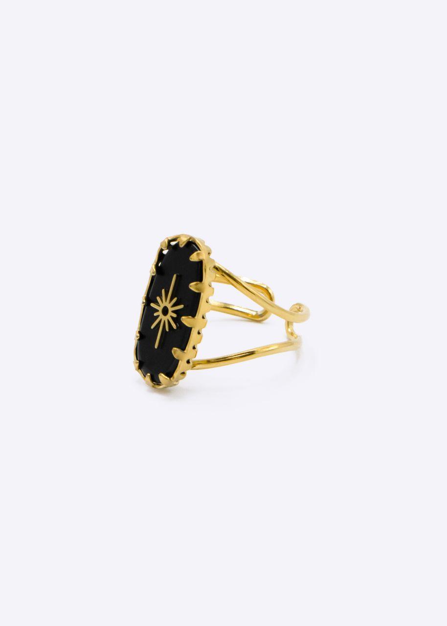 Ring mit schwarzem Jaspis-Stein, gold