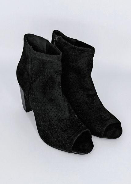 Zehenfreie Boots, schwarz