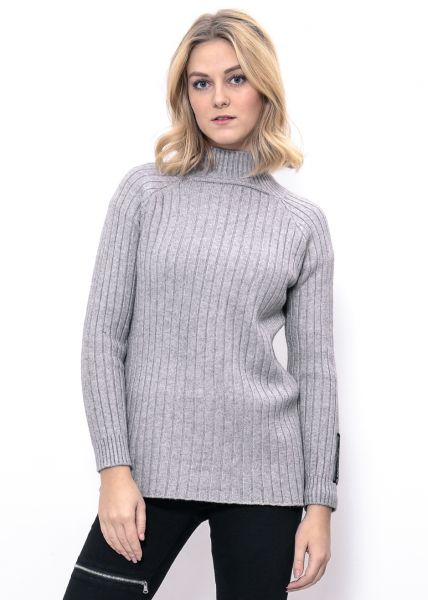 Softer Rippenstrick-Pullover, grau