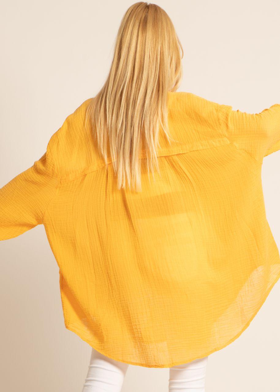 Transparentes, ultra oversize Blusenhemd, orange