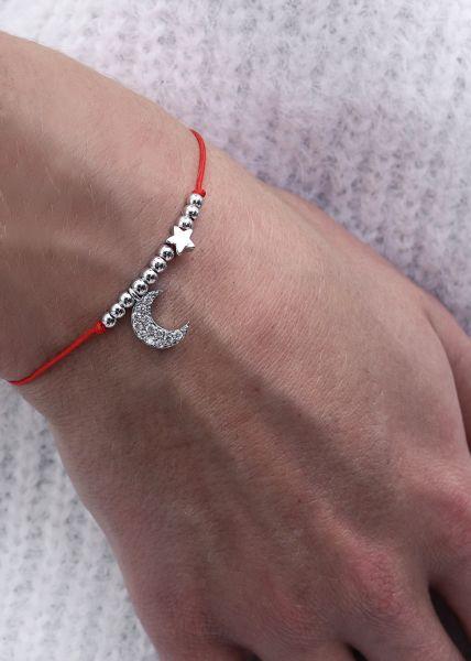 Armband mit Mondanhänger, rot