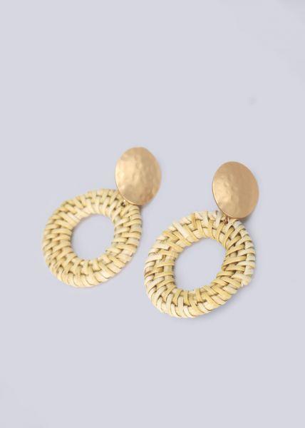 Ohrstecker mit beige Bastanhängern, gold