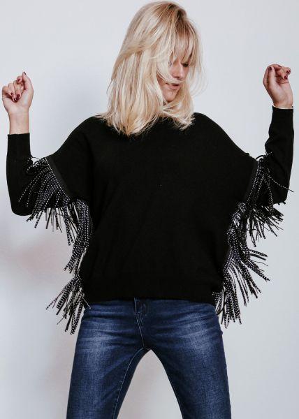Pullover mit Fransen, schwarz