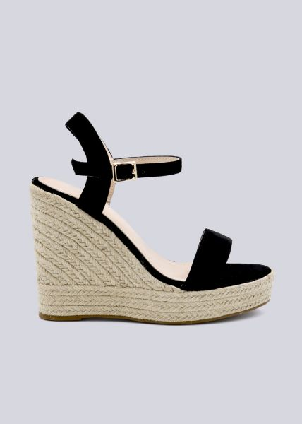 Sandaletten mit Keilabsatz, schwarz