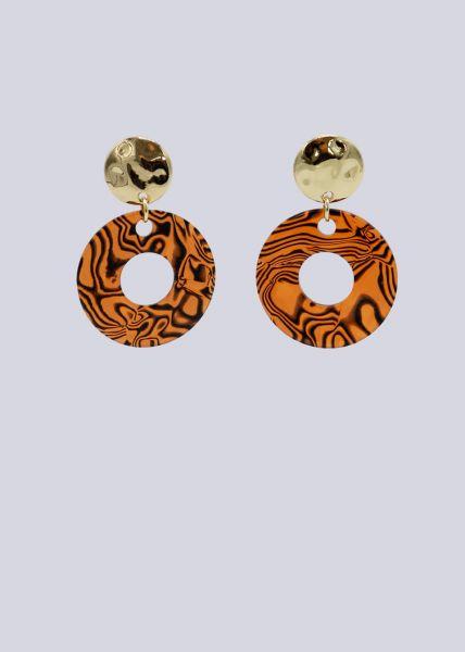 Ohrstecker mit Kreisen, orange