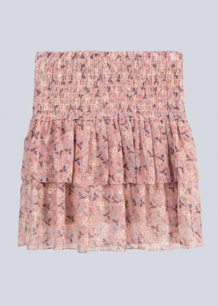 Volants-Rock mit Blumen-Print, rosa