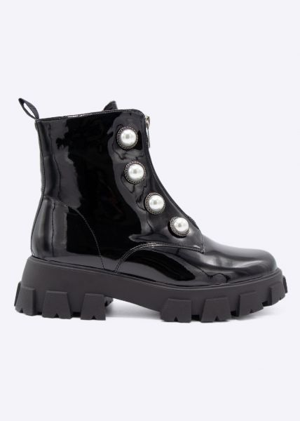 Plateau-Lack-Boots mit Perlen, schwarz