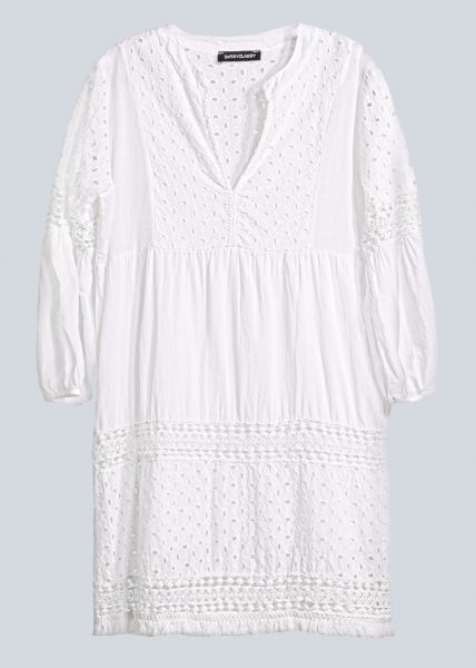 Baumwollkleid mit Spitze, weiß