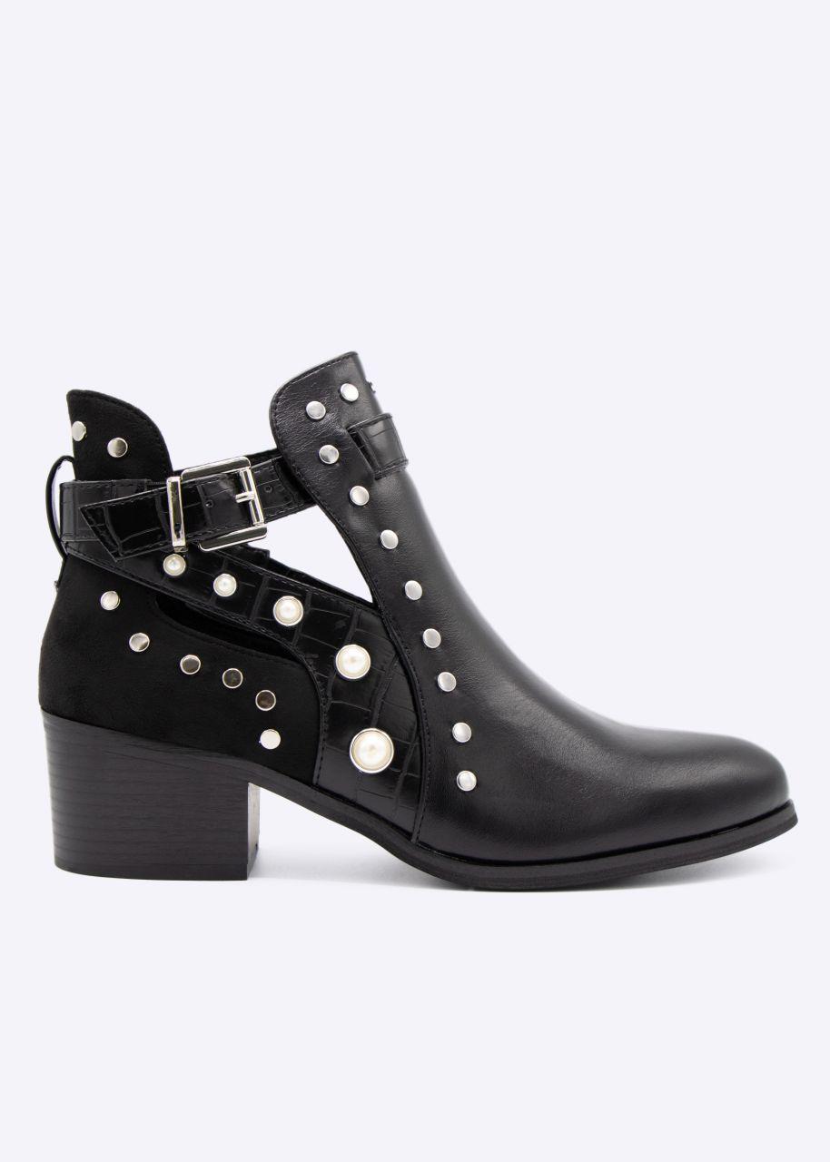 Cut-Out Booties mit Perlen und Nieten, schwarz