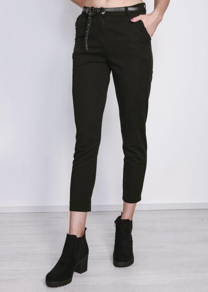 Chino-Hose mit Rüschen an den Taschen, schwarz
