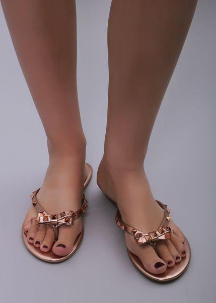 Flip Flops mit Schleife, roségld