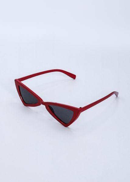 Kleine, eckige Sonnenbrille, rot
