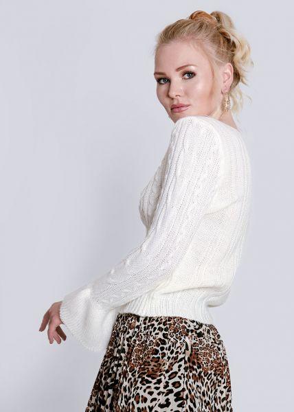 Zopf-Pullover mit Volantsärmel, weiß