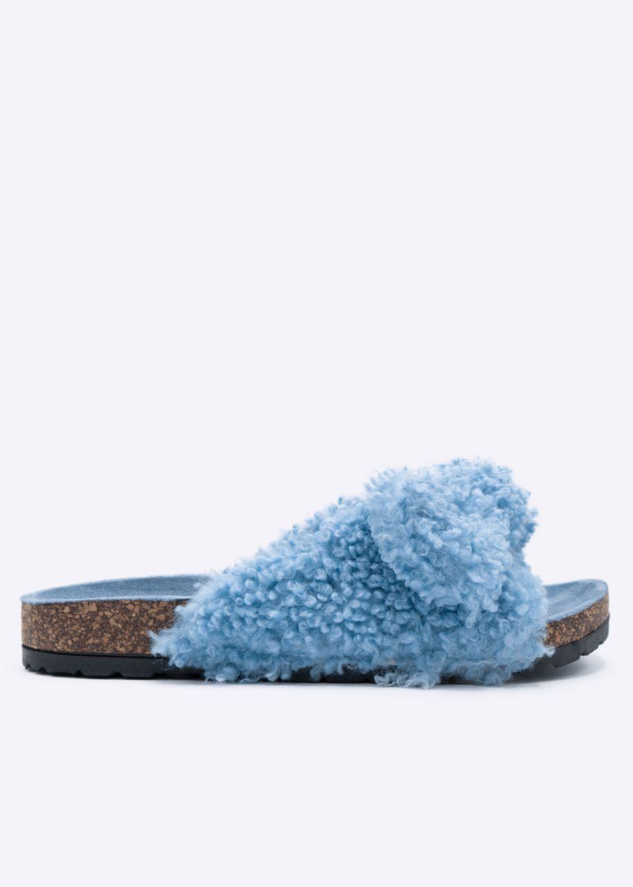 Shearling Slider, blau