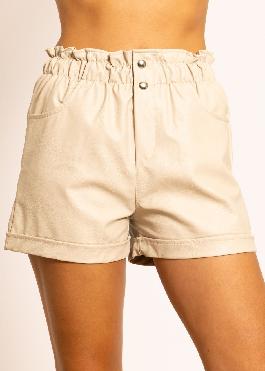 Leder-Shorts, beige