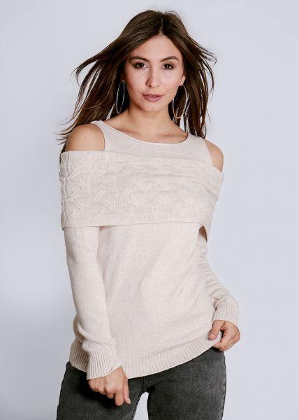 Schulterfreier Pullover, beige