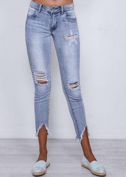 Jeans mit Perlen bestickt