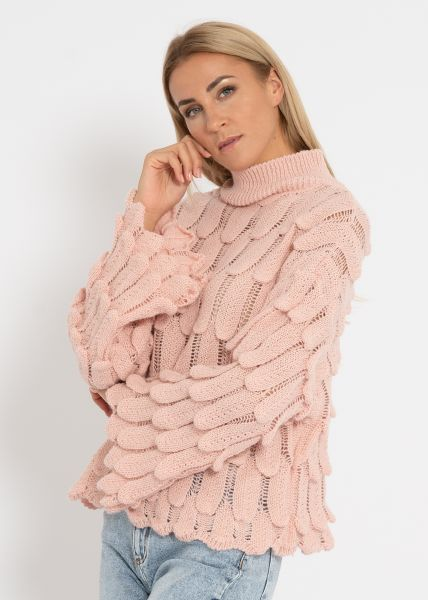 Oversize Pullover mit Muster, rosa
