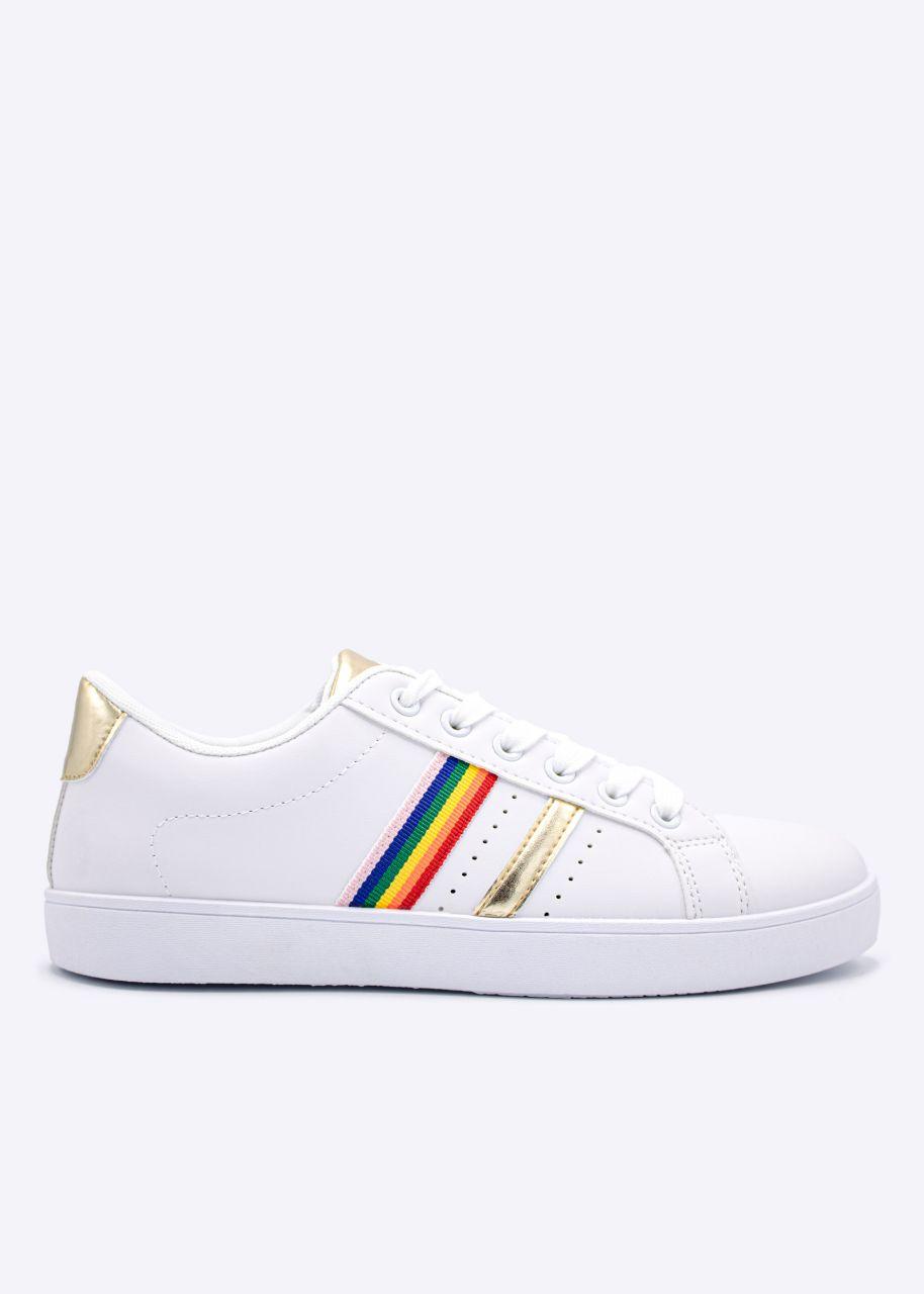 Sneaker mit farbigen Streifen, weiß