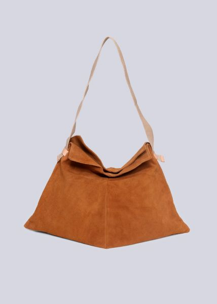 Softer Shopper aus Leder, cognac