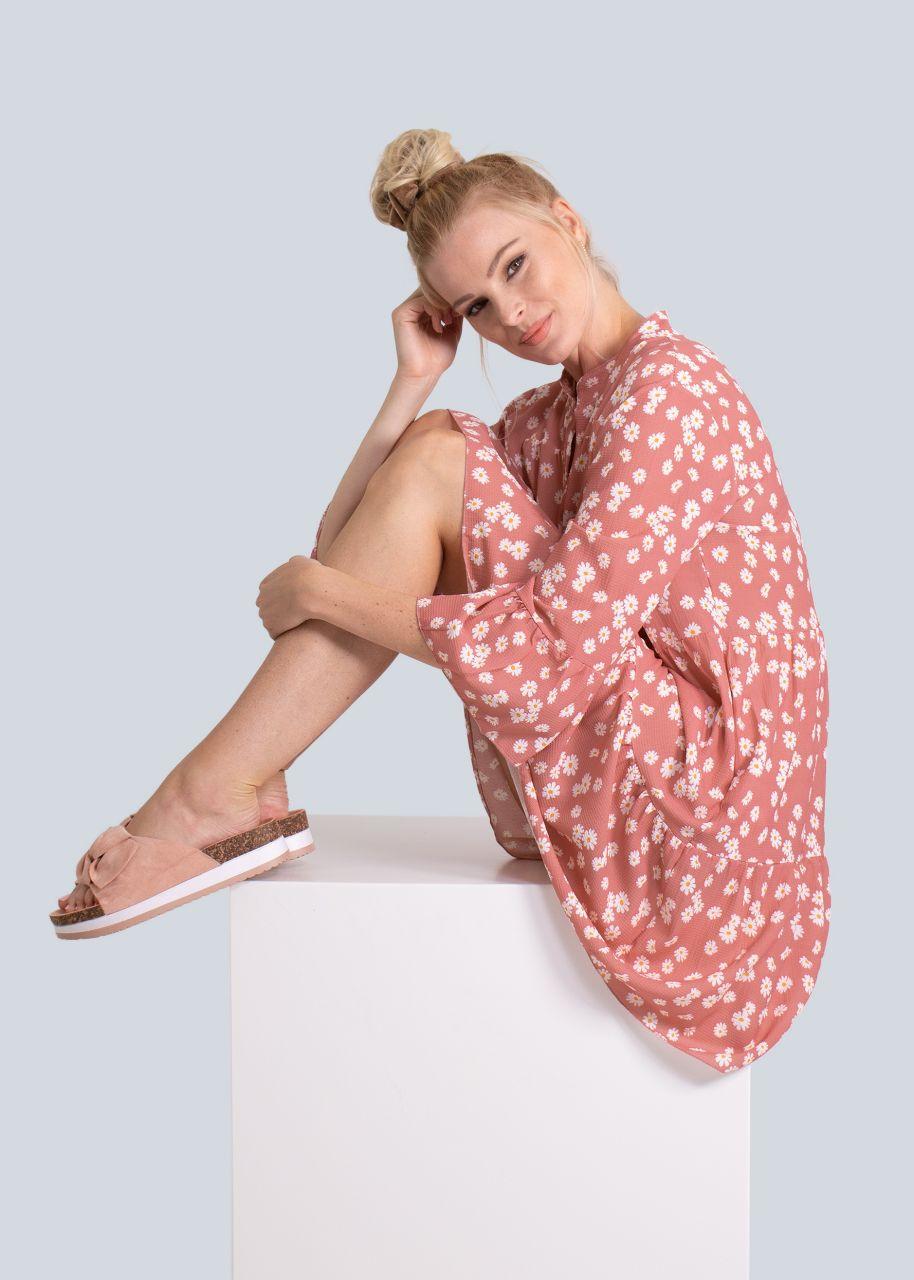Hängerchenkleid mit Blumen-Print, rosa