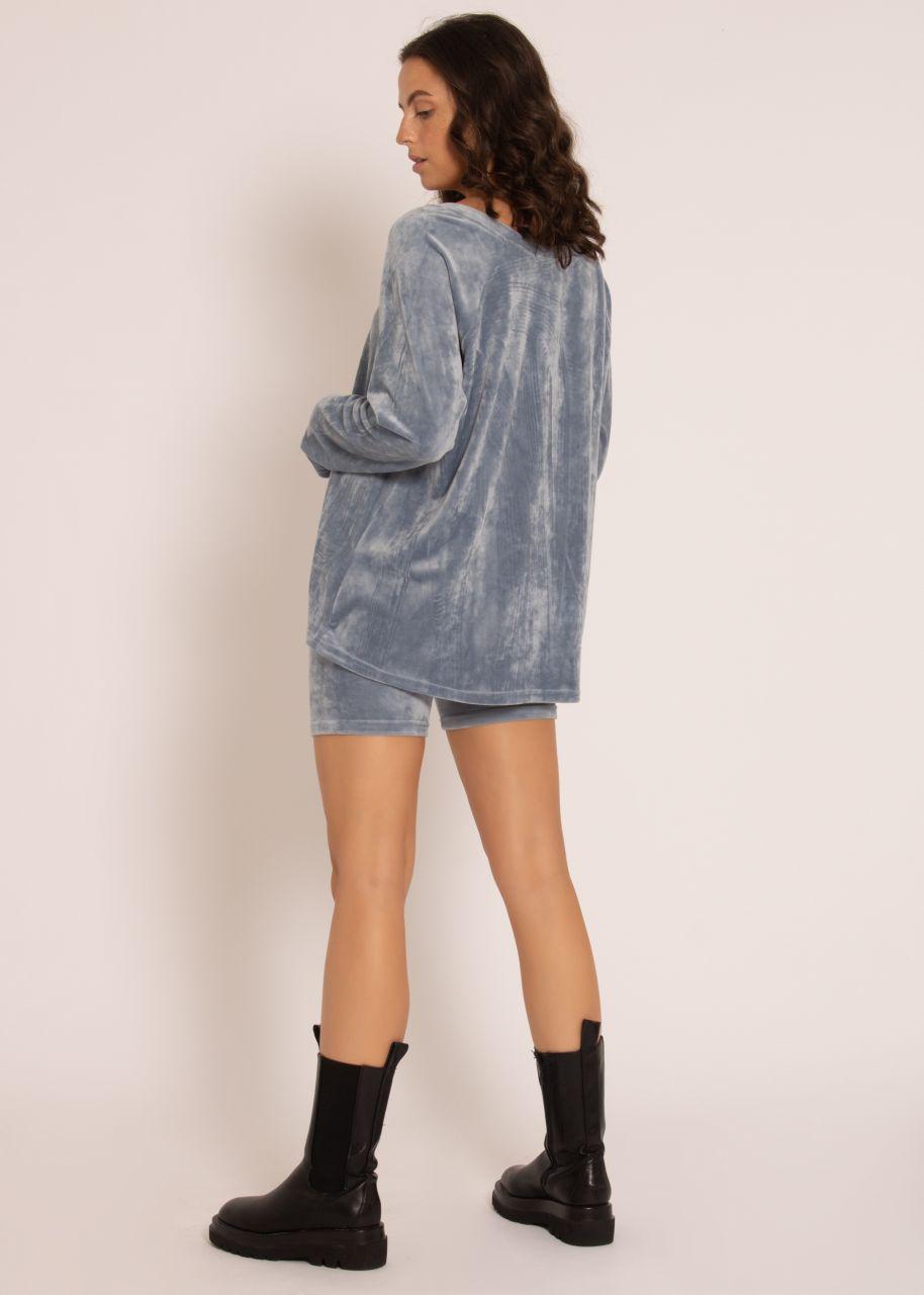 Set aus Velvet-Sweater und Shorts, blau
