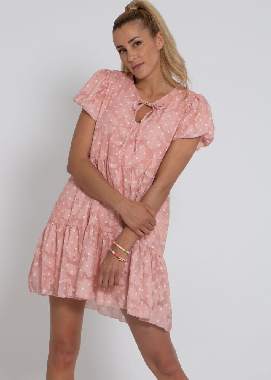 Mini Hängerchenkleid mit Tupfen-Print, rosa