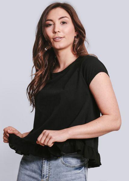 T-Shirt mit Rüschenabschluss, schwarz