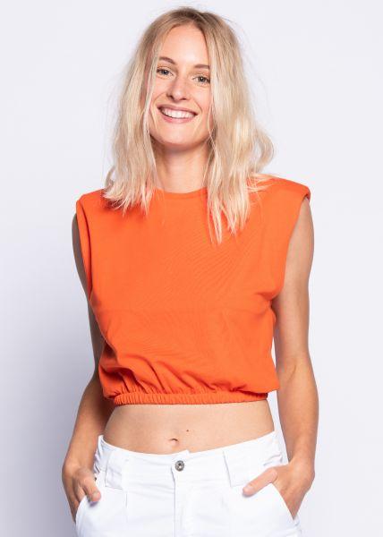 Crop-Shirt mit Schulterpolster, orange