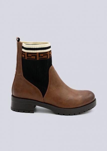 Chelsea-Boots mit gemusterten Strickeinsätzen, camel
