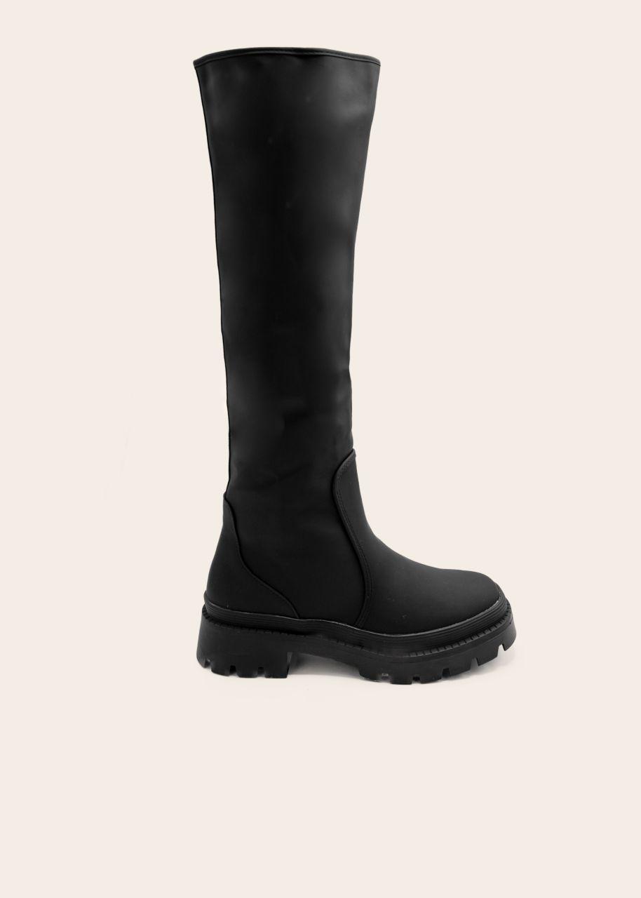 Kniehohe Stiefel mit dicker Sohle, schwarz