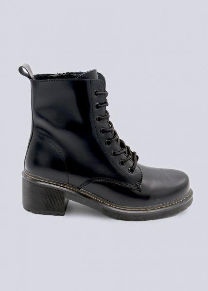 Schnür-Boots mit Blockabsatz, schwarz