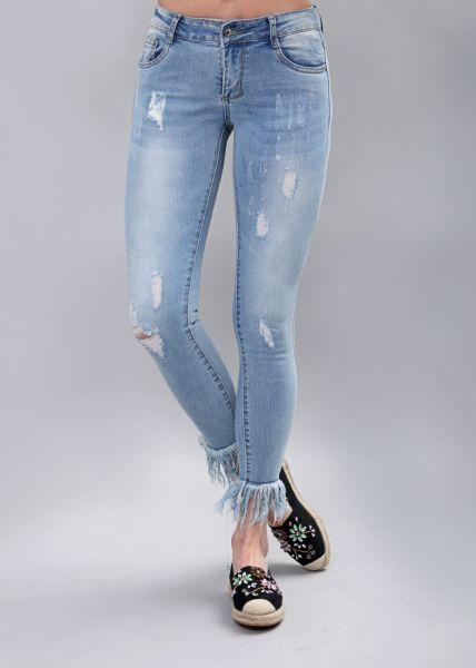 Destroyed Jeans mit ausgefranstem Saum