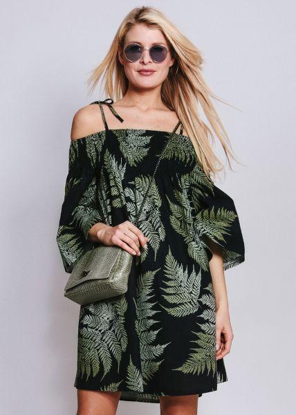 Schulterfreies Hängerchenkleid mit Palmen-Print, blau