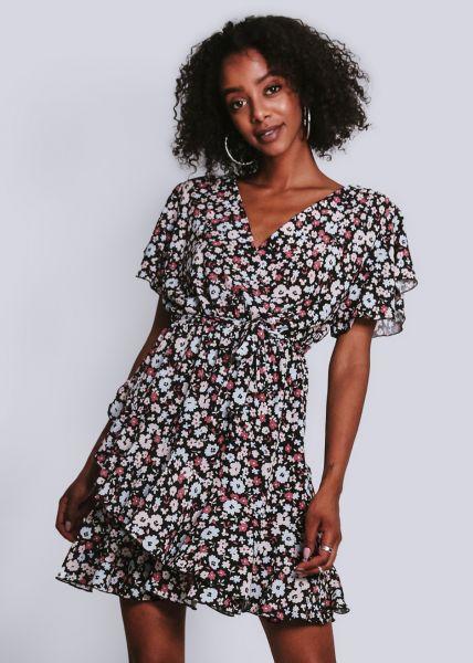 Kleid in Wickel-Optik und mit Blumen-Print, schwarz