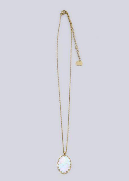 Halskette mit ovalem Anhänger, gold