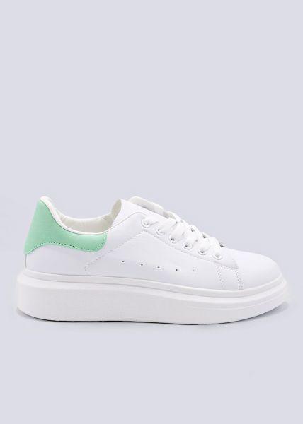 Sneaker mit mint Ferse, weiß