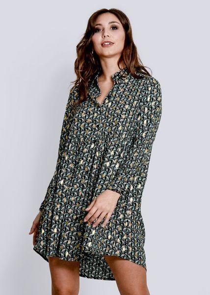 Hängerchenkleid mit Print und Gold Druck, grün