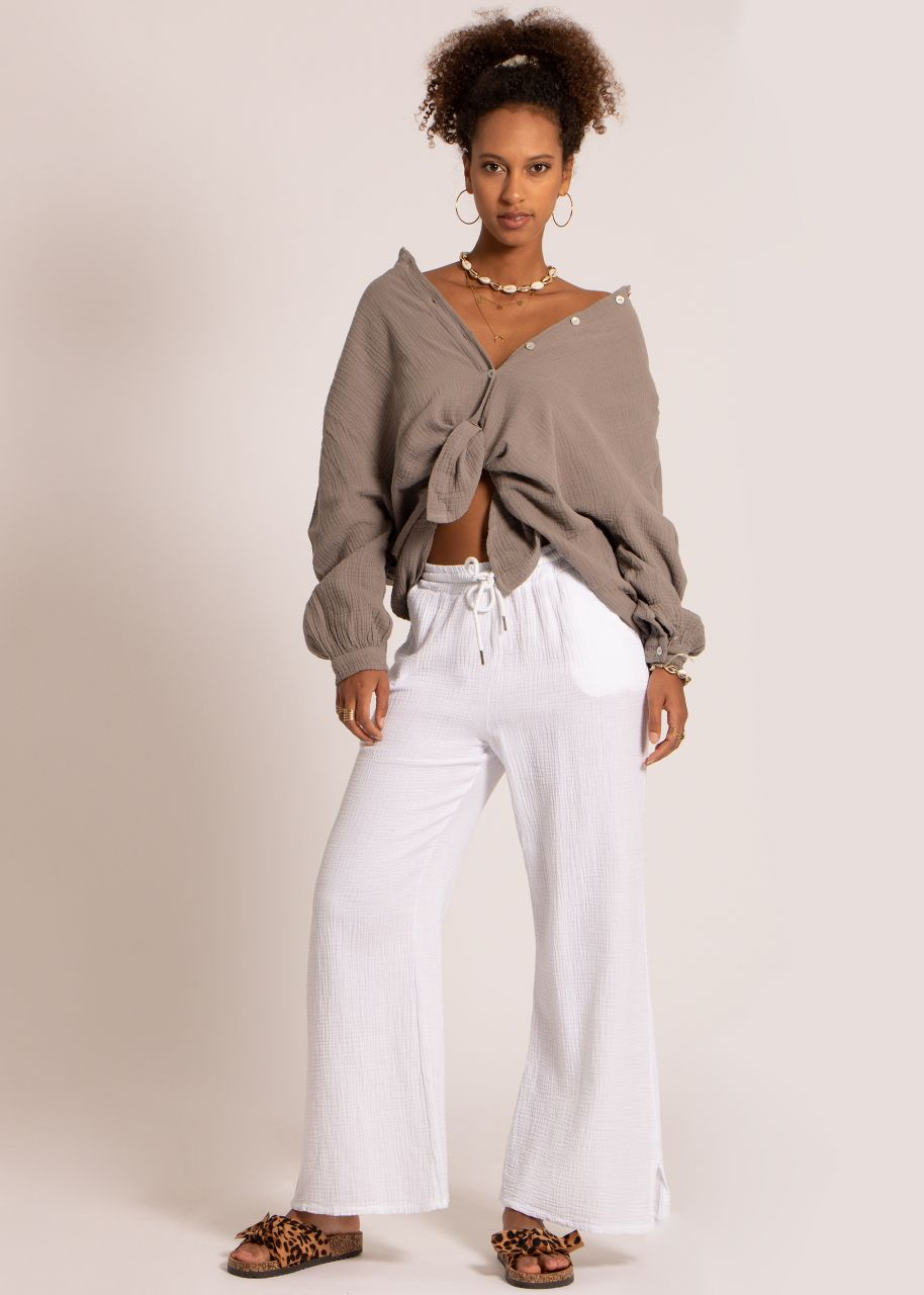Ultra oversize Blusenhemd, kürzere Variante, taupe