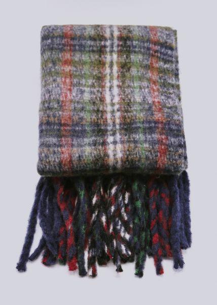Flauschiger Karo-Schal, blau/grün/rot