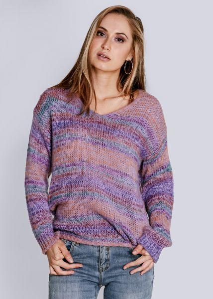 Streifen-Pullover, lila