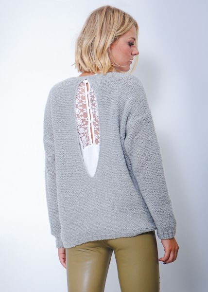 Oversize Pullover mit Cut-Out, grau
