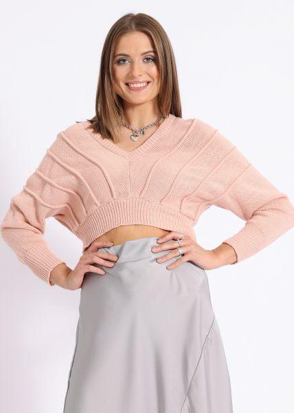 Crop-Pullover mit weitem Ausschnitt, lachsrosa