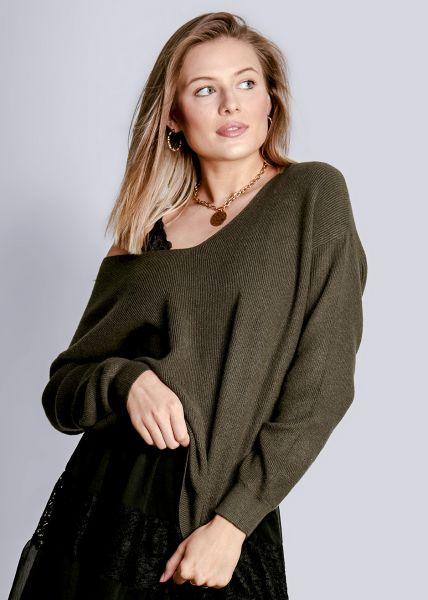 Pullover mit lässigem V-Ausschnitt, khaki
